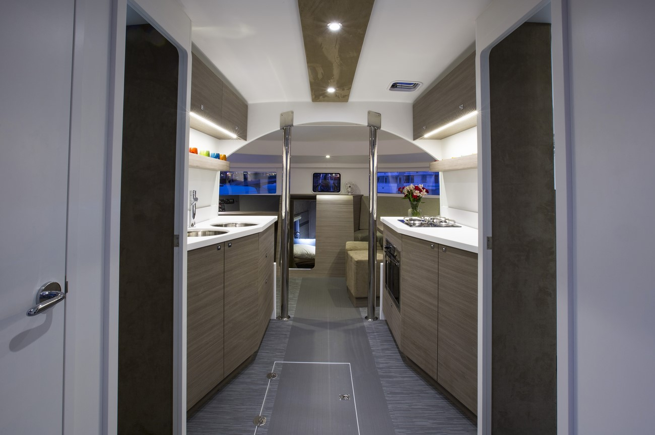 Interiors onboard Neel 45 in Miami, FL.