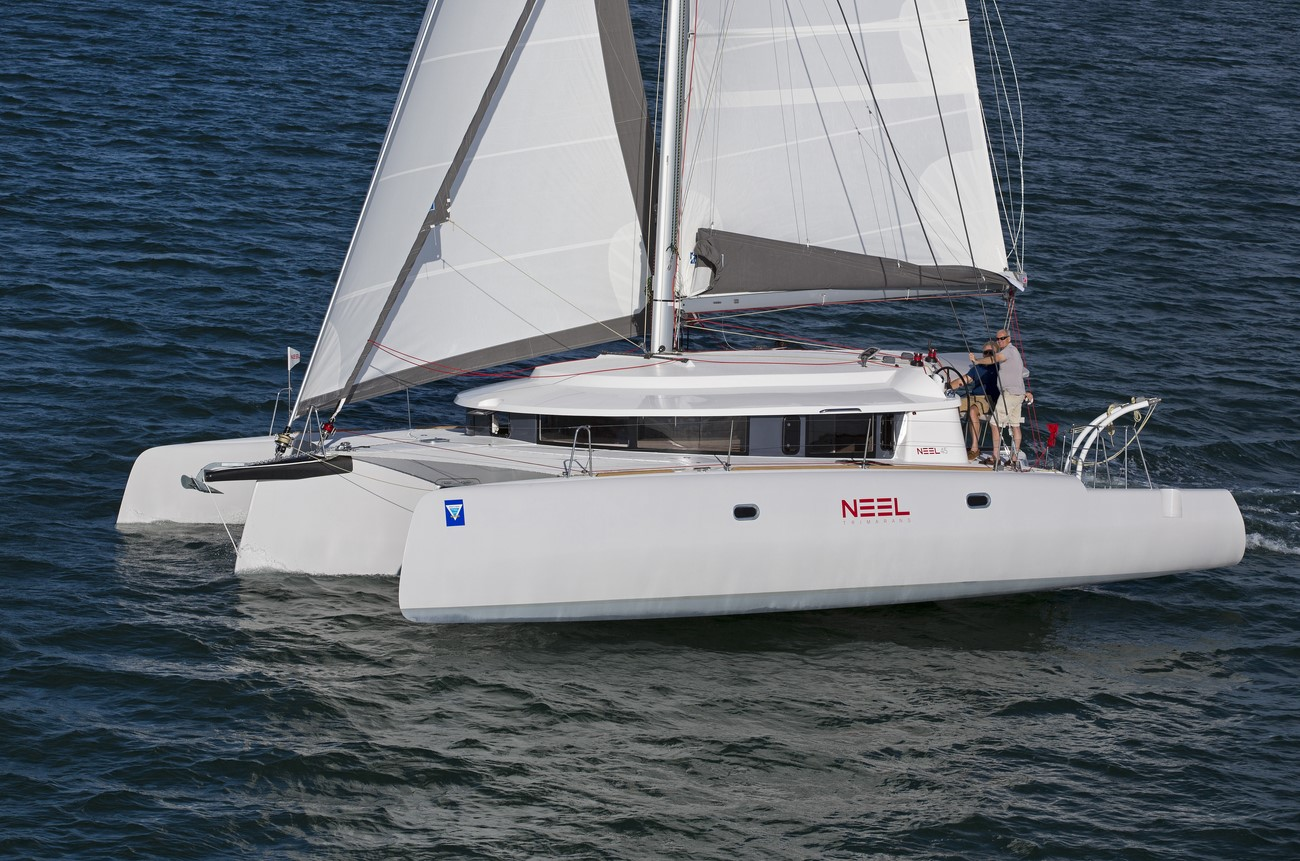 Neel trimaran sailing in Miami, FL.